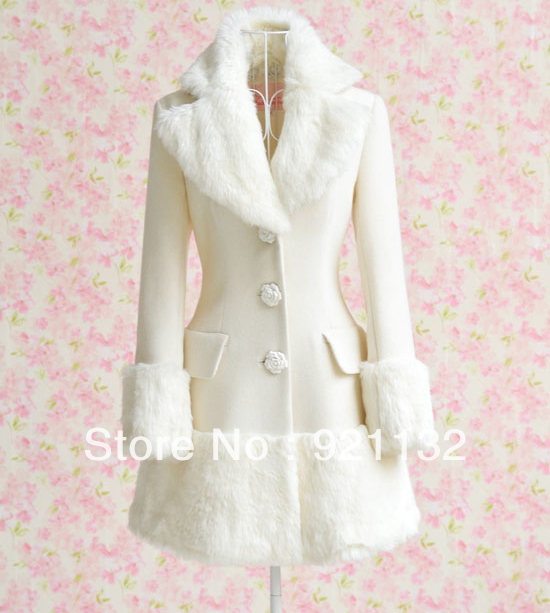 Free Shipping 10180 Noble Plus Size White Faux Fur Embellished Collar and Skirt Lap Flower Buttons Woolen Winter Warm CoatОдежда и ак�е��уары<br><br><br>Aliexpress