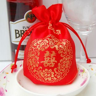 GAGA ! 12cmx8.5cm Free shipping 200 pcs /lot RED BROADE wedding gift bag jewellery pouch Jewelry Bags , L6-2(China (Mainland))