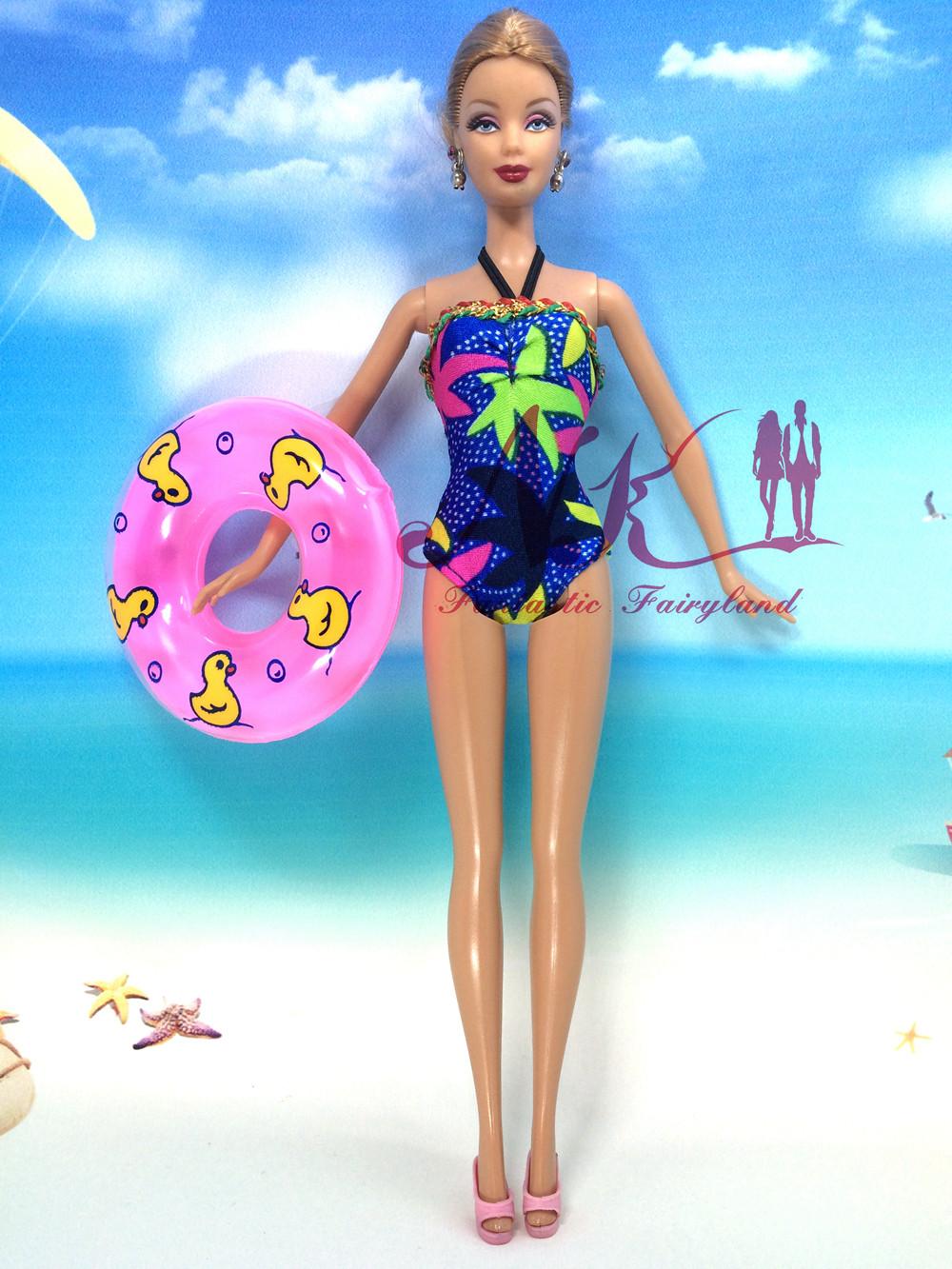 NK Doll corset Swimwear  Pants+Slippers+Swimming Buoy Lifebelt Ring For Barbie Doll Finest Woman' Reward 028A