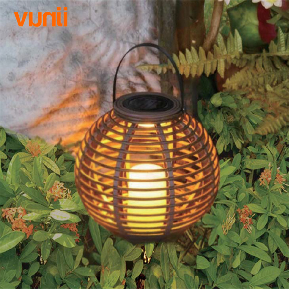 Yunji Waterproof LED Solar powered candle lantern with flickering amber luminaria solar lamp outdoor decorative light