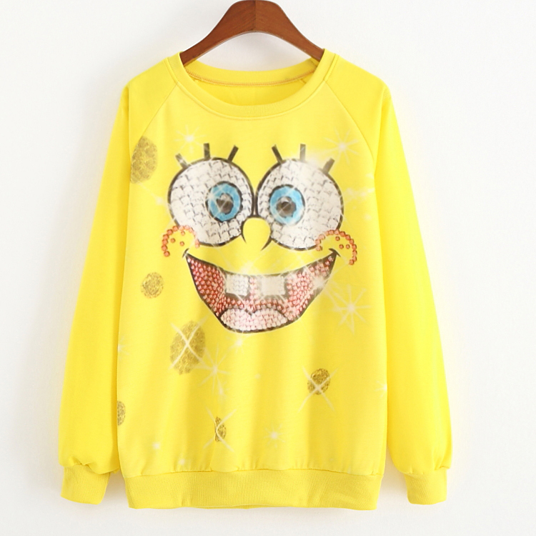 New 2015 Autumn and spring Casual Hoodies Sweatshirts sport suit women sudaderas Spongebob expressions printed women hoody(China (Mainland))