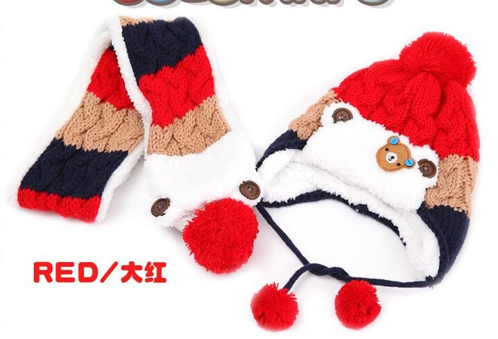 new Korean version Bear boys Knitted hats winter 2 pcs baby girl scarf hat set Age for 6 months-3 Years Old
