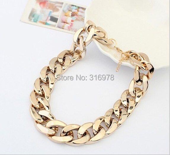 4 Color New Fashion Vintage Chunky Chain 18 K Gold Silver Plated punk statement Necklace For Women Necklaces & Pendants Jewelry(China (Mainland))