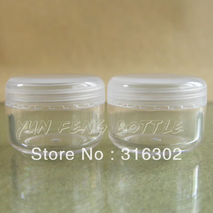 50 X 10G Clear Empty Plastic Jar Nail Art Glitter Dust Powder Case Cream Pot Cosmetic Container(China (Mainland))