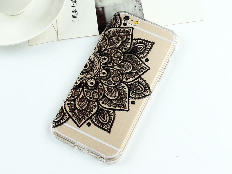 Luxury Vintage Black Paisley Flower Phone TPU Cases For iphone 7 7 Plus 6 6s 6 Plus Flower Mandala Patterned Silicon Covers Back