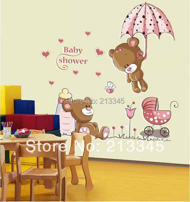 Saturday monopoly diy decals removable baby shower cute cartoon bear home decor wall stickers - Dessin muurschildering chambre fille ...