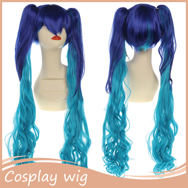 2016 Hot! 1PC 90cm Blue Cosplay wigs Synthetic Claw Ponytail Halloween Costome Wig Kanekalon U Part Wigs for Halloween Christmas<br><br>Aliexpress