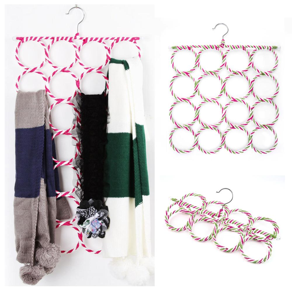 2015 Multi-function Scarf Shawl Scarf Belt Tie Hanger Holder Organizer Storage 16 Ring Rope Slots hangers(China (Mainland))
