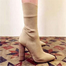 Fashion Stretch Fabric Short Booties Chunky High Heel Shoes Woman Pointed Toe Ankle Boots Knit Sock Botines Mujer Women Pumps(China (Mainland))