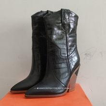 Şeker renk Yılan Derisi botas mujer Batı Botları Kovboy Çizmeleri kadınlar için pist tasarım Tıknaz Takozlar topuk Orta buzağı çizmeler(China)