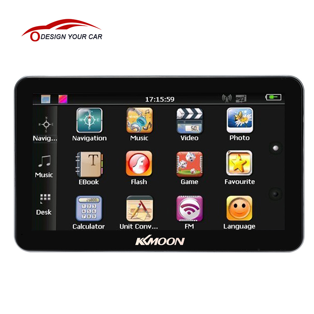 Rechargeable 7 Inch Touch Screen GPS Navigator 128MB RAM 4GB ROM KKmoon Multi-language MP3/MP4 FM Car GPS Navigation(China (Mainland))