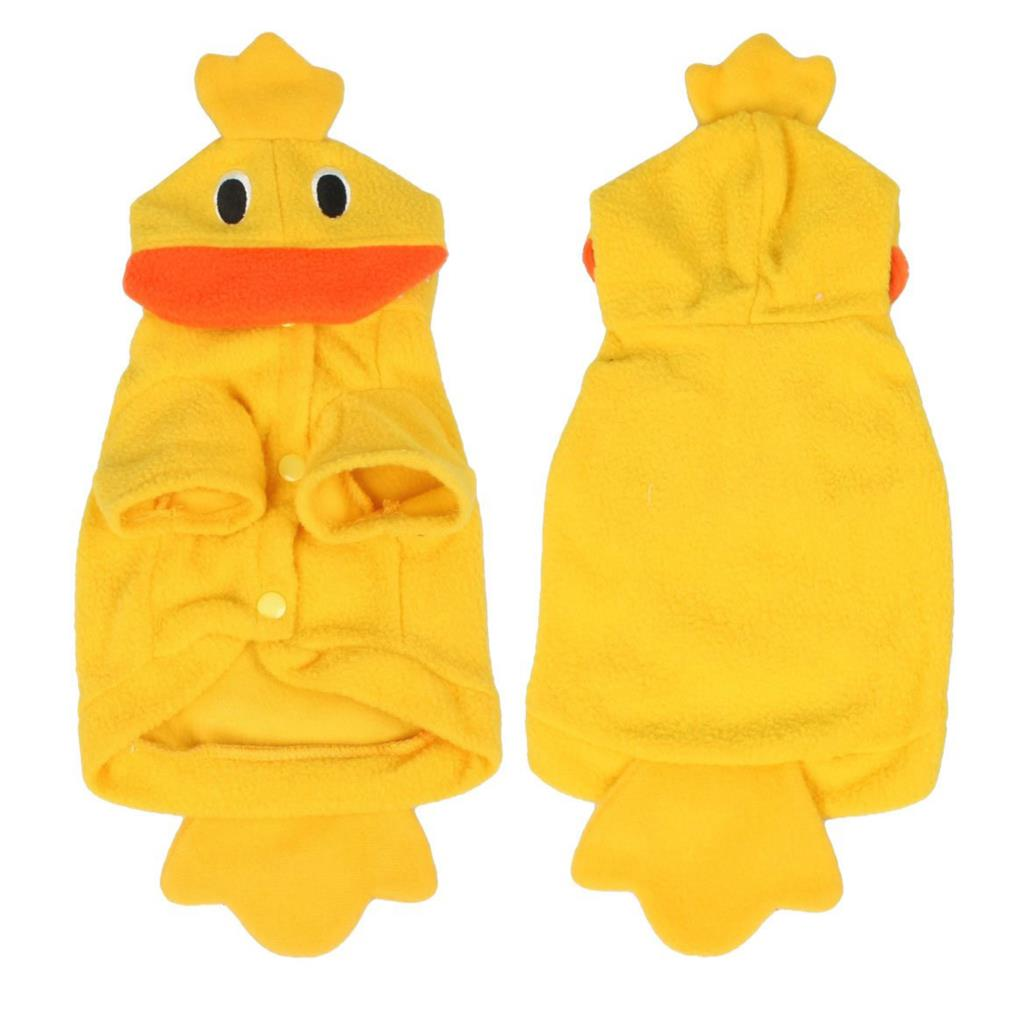 Hot sale in stock Halloween Costume Duck Style Yellow Fleece Dog Clothes Coat XS(China (Mainland))