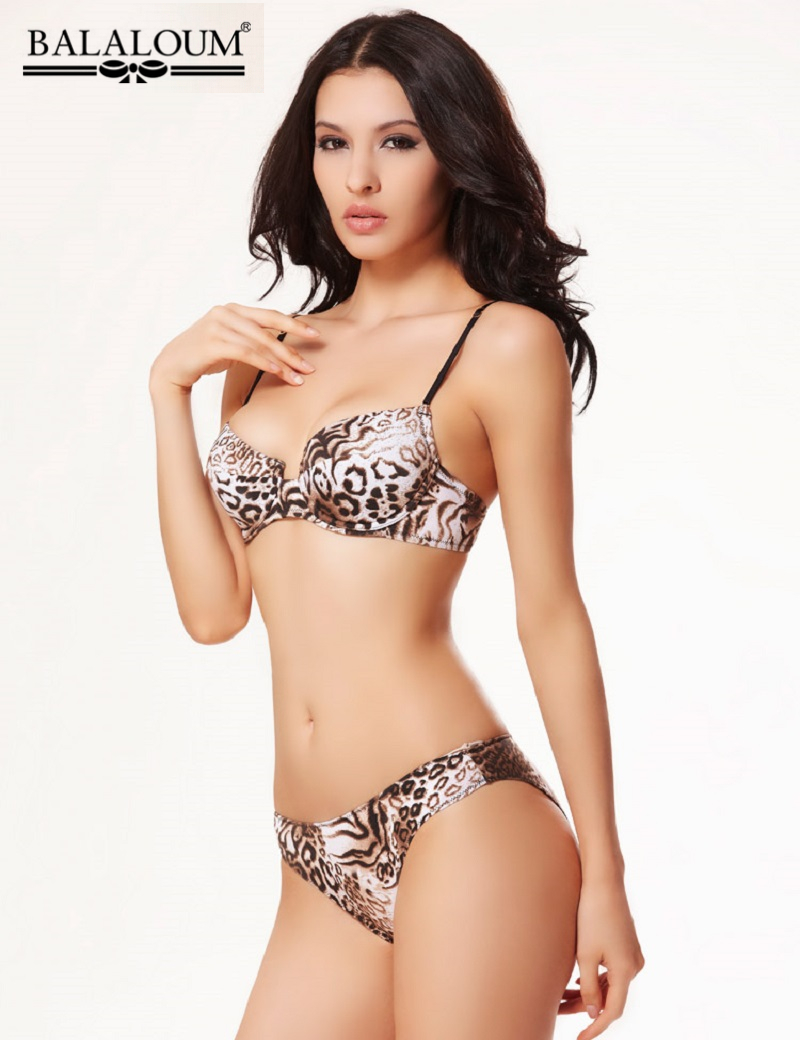 2015 Newest Fashion Leopard Printed Women Underwear Bra brief Sets Sexy 3 4 Cup Push Up
