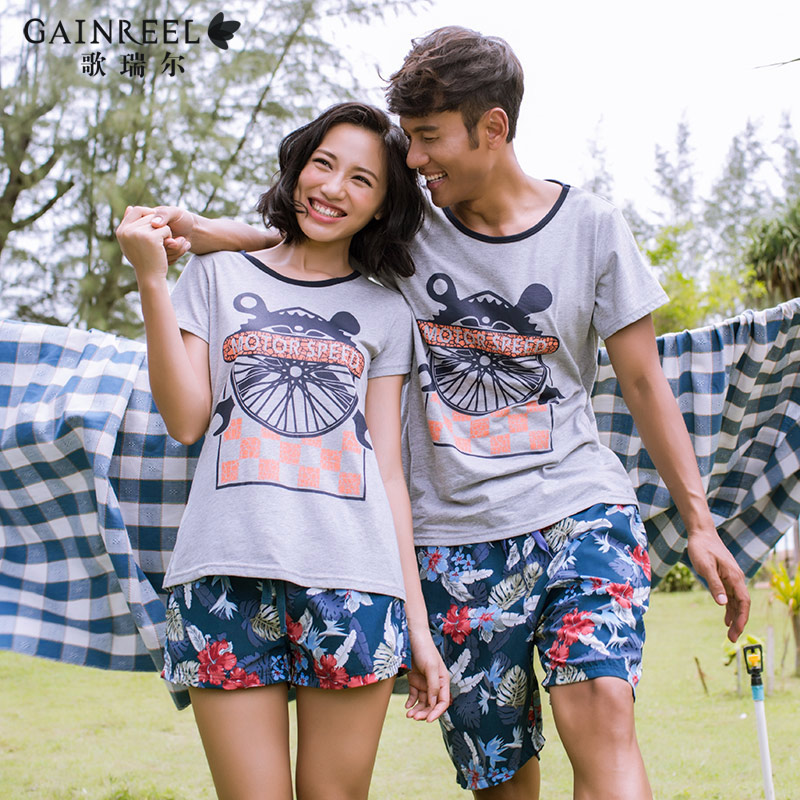 Casual short sleeved pajamas song Riel sweet couple cartoon cozy men Pyjamas suit Melaleuca Ms Ju
