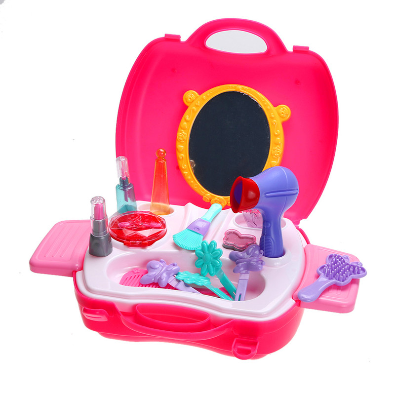 Pink Pretend Play House Makeup Tool Cosmetic Kit Playset Pretend Role Play Classic Simulation Toy Gift For Children Kids Girls(China (Mainland))