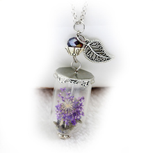 SUPERNATURAL Protection Necklace Angel Wing Leaf Rock Salt Bottle Pendant Necklace Glass Dry Flower Necklace Real Flower Bottle(China (Mainland))