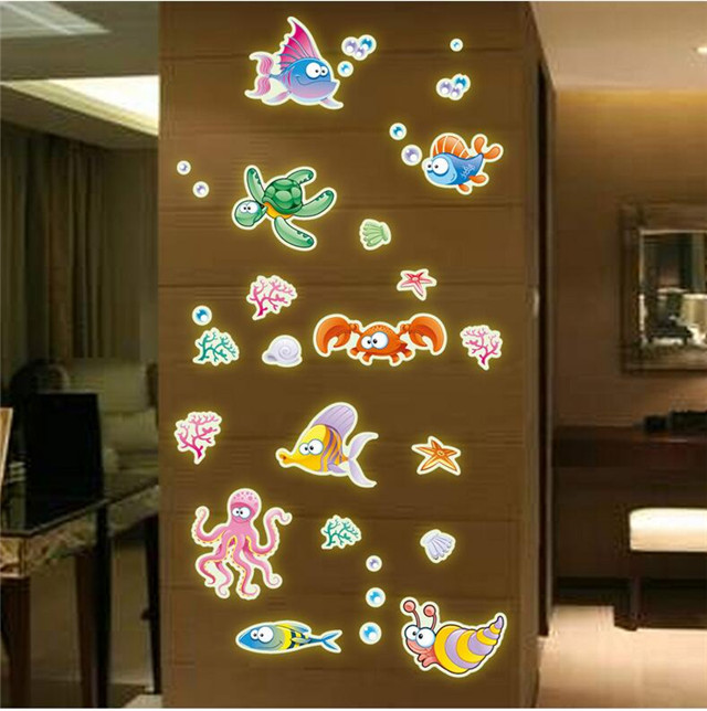 The new color cartoon underwater world luminous paste / PVC bedroom living room Wall Sticker decorative painting / Home Supplies(China (Mainland))