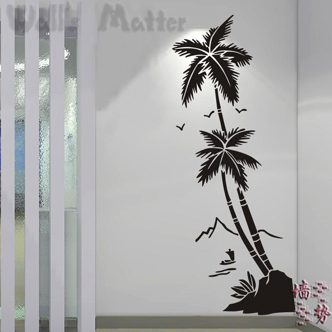 Beach coconut trees waterproof vinyl decal stickers hall bathroom glass modern art mural decorative stickers free shipping(China (Mainland))