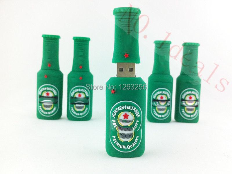pen drive cartoon green beer beautiful silicone Bottle Can usb flash drive 8gb 16gb 32gb 64gb pendrive memory USB DISK(China (Mainland))