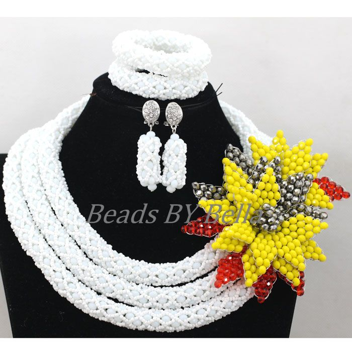 Здесь можно купить  Women Costume Fashion Necklace Set White Crystal Yellow Flowers Braid Wedding Beads African Bridal Jewelry Free Shipping ABK515  Ювелирные изделия и часы