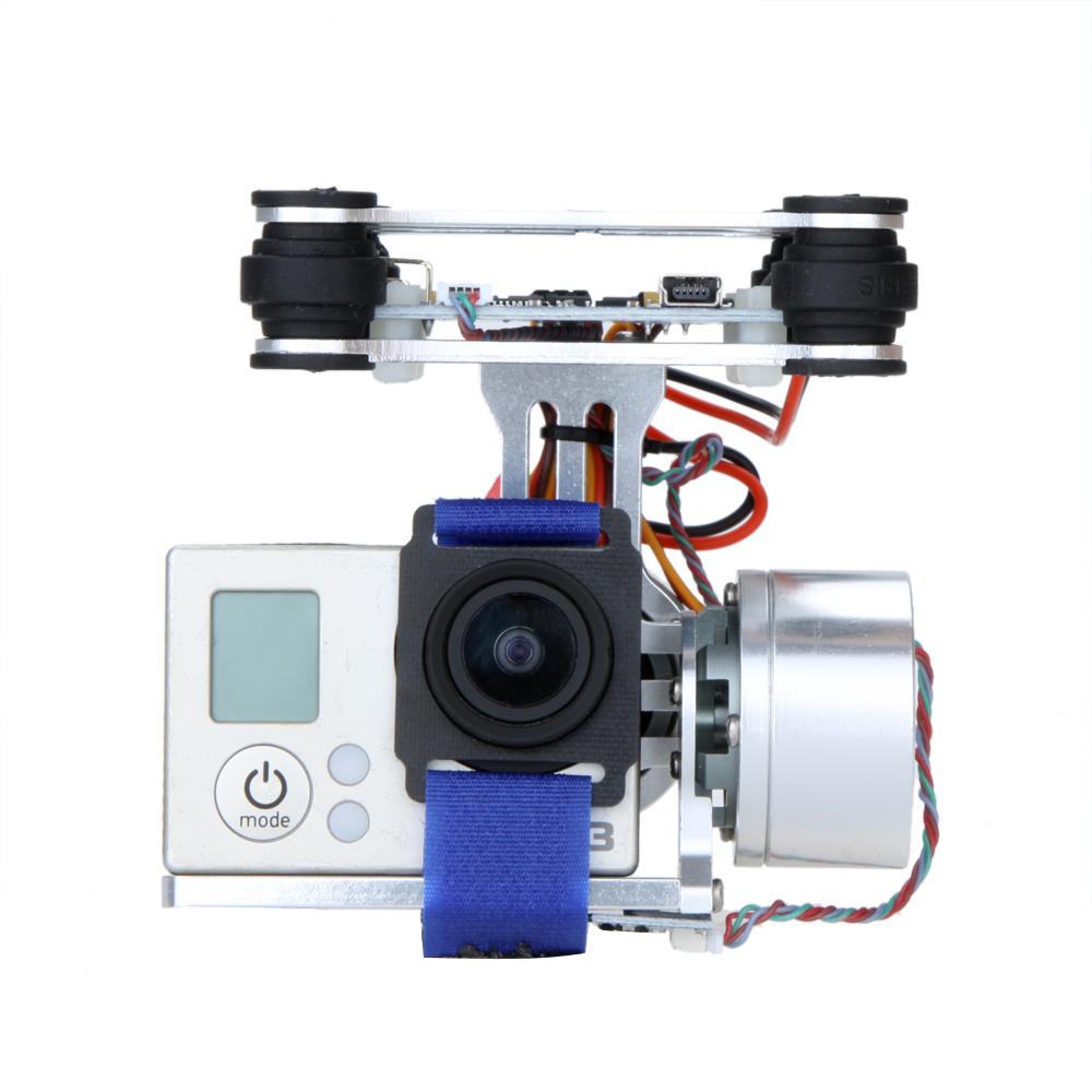 Silver/Black CNC FPV Quadcopter BGC 2 Axis Brushless Gimbal w/ Controller for GoPro 3 Camera DJI Phantom 1 2 Walkera X350 Pro(China (Mainland))