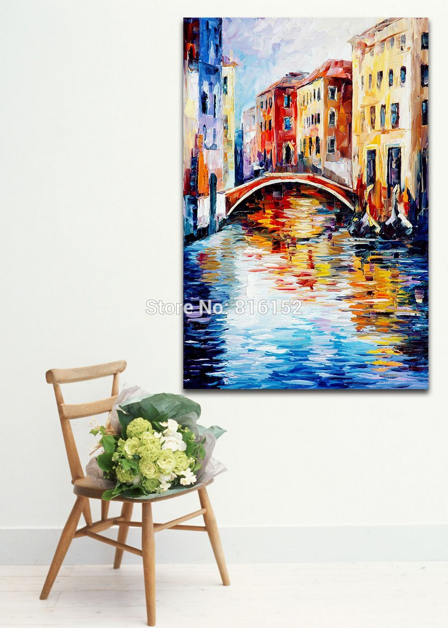 Buy 100% Hand-painted Palette Knife Painting London Venice Cityscape Architecture Art Canvas Painting for Home Office Wall Decor cheap