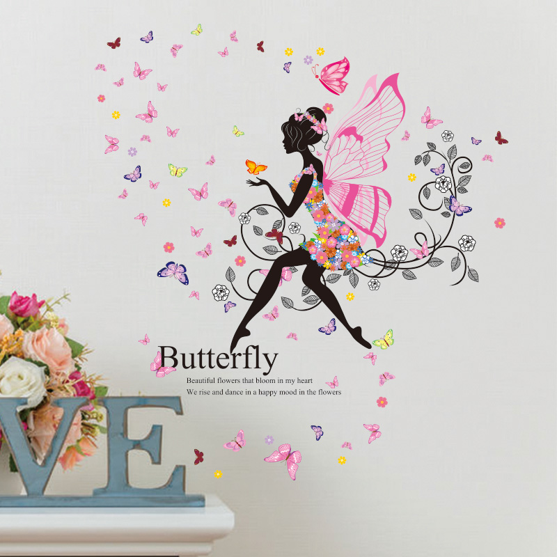 Wings Girl Wall Sticker Butterfly Multi Color XL Size Mural Sticker For Girl Kids Room Living Room Home Decor Wallpaper Sticker(China (Mainland))
