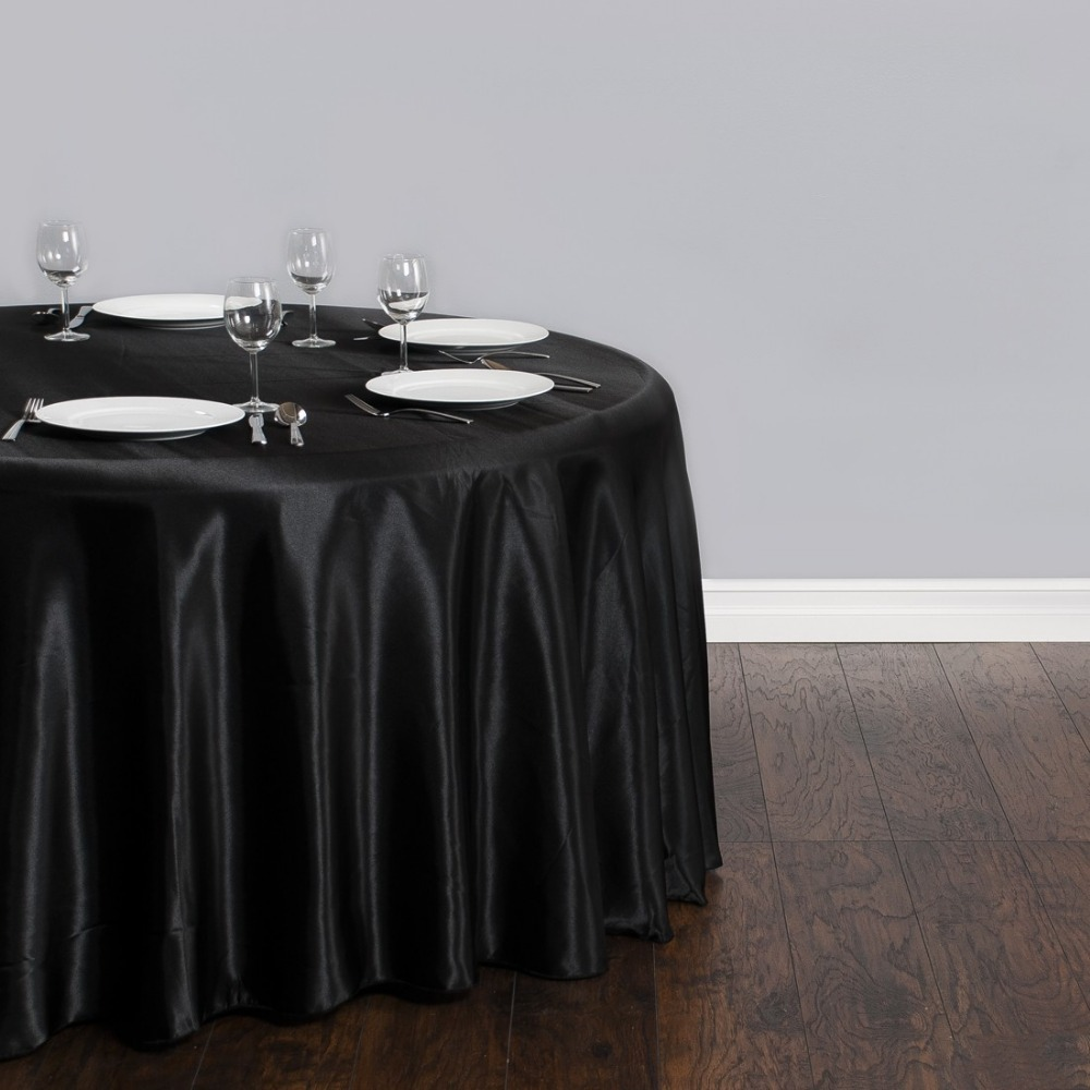 Fedex IE 118 in./300cm Round Satin Tablecloth Black for Wedding Event Banquet Party 20/Pack(China (Mainland))
