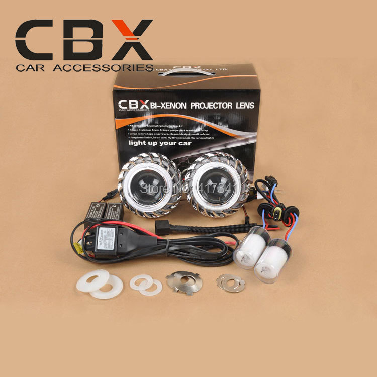 Free Shipping CBX-G6+ Double Angel Eyes HID Bixenon Projector Lens Kit with 35W HID Xenon Lamp 4300K-8000K Car Styling Light<br>