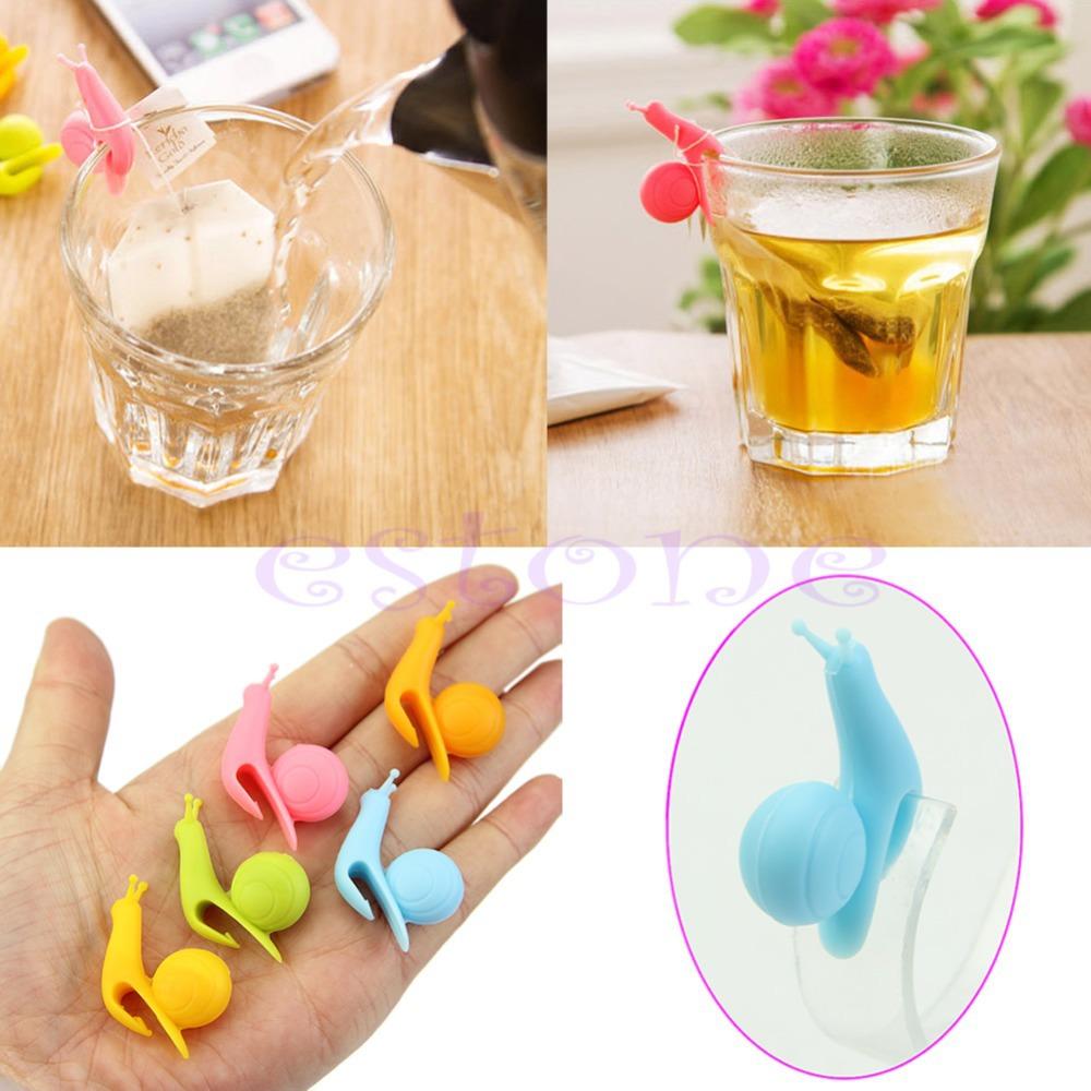 Hot Sale Cute 5pcs Snail Shape Silicone Tea Bag Holder Cup Mug Candy Colors Gift Set New(China (Mainland))