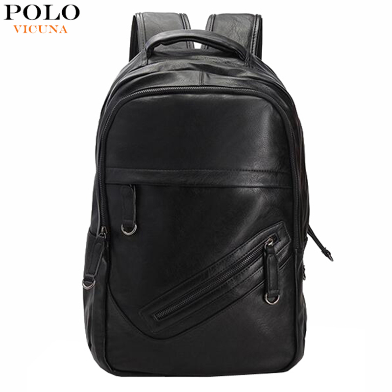 Promotion Men's Waterproof Black Leather Backpack School Mochila Outdoor Sport Double-Shoulder Rucksack Bicycle Travel Packs(China (Mainland))