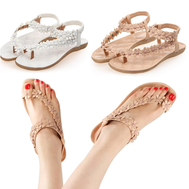 2015 new Flip-flop sandals open toe flip women's shoes flats bohemia flower beaded soft outsole sweet for women size 35-39#ZJJ33(China (Mainland))