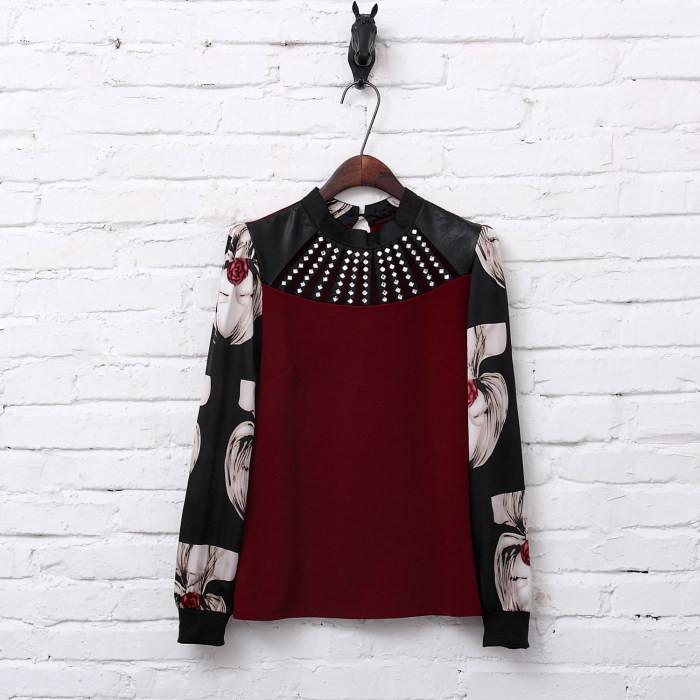 Vintage Blouse Fashion Feminino Clothes 2015 Korean Shirt Women Printing Vetement Femme Plus Size Tops Casual Vintage Blouse