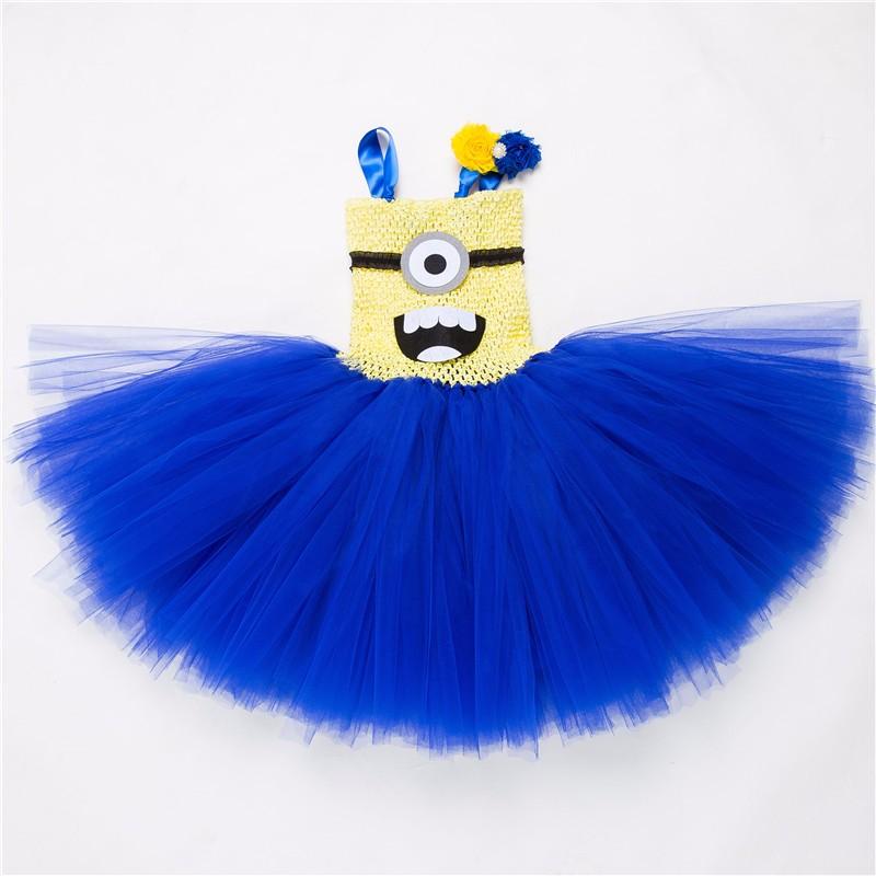 Скидки на Детская одежда Платья для девочек Синий Маленький желтый человек Косплей костюм/платье Девушки Мультфильм Марли Пачка Принцесса платья