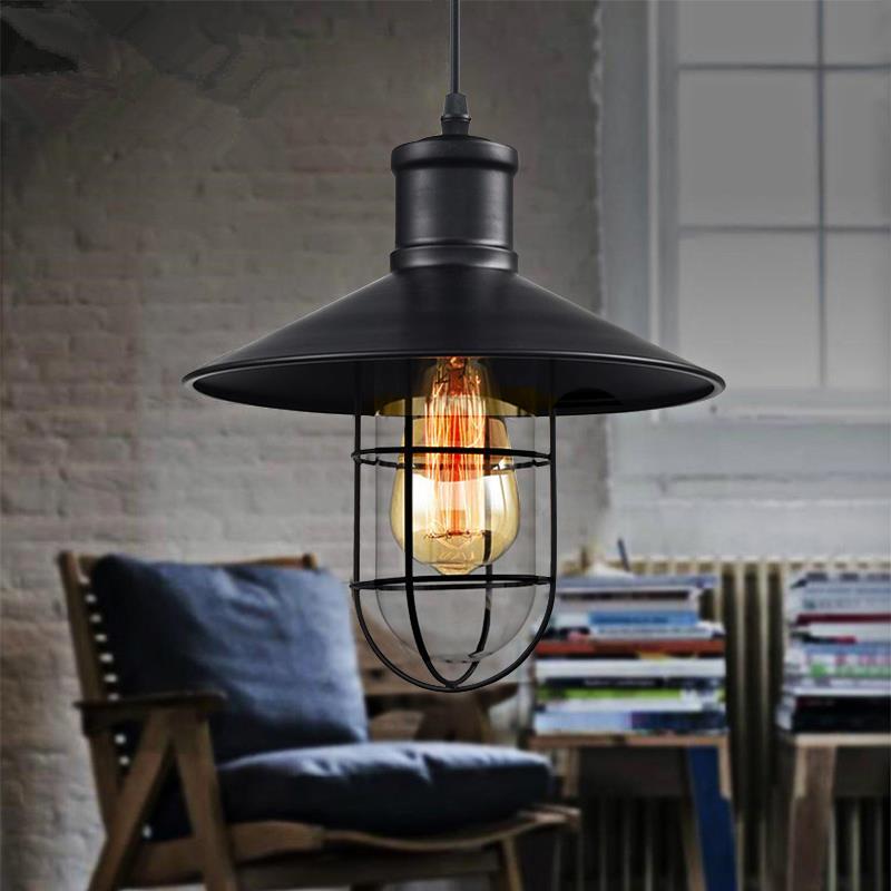 Vintage Iron Pendant Light Industrial Loft Lamps E27 Cage