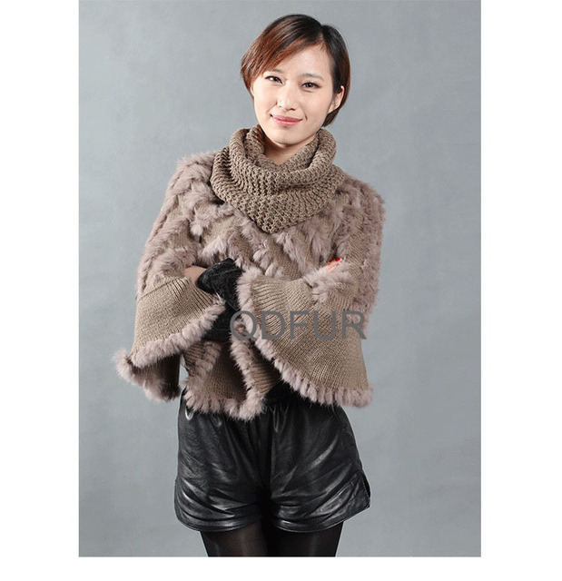 QD27886 Winter Women's Genuine Natural Knitted Rabbit Fur Pullovers Autumn Sweater Shawls Lady Wraps