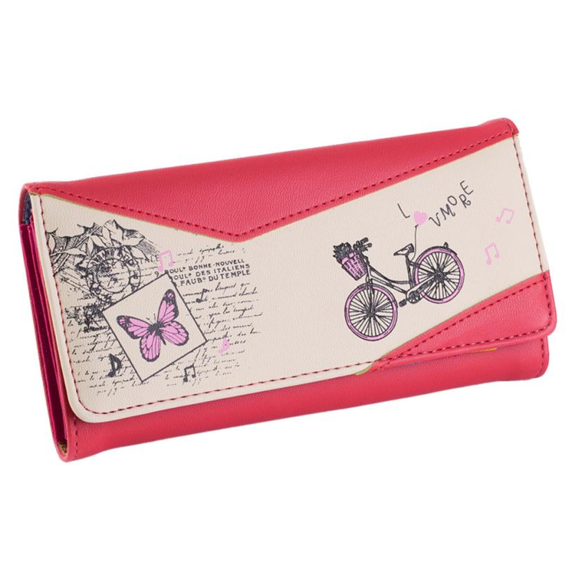 Women Wallet Long Smooth PU Leather  Butterfly Printed Cycling Female Wallet Carteira #2415<br><br>Aliexpress