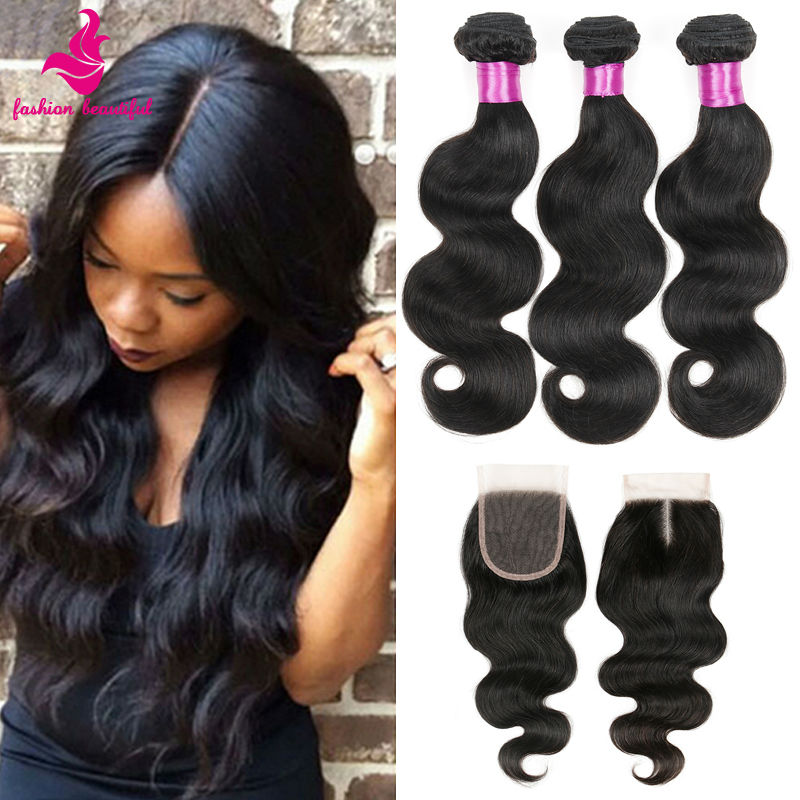 Rosa Hair Products With Lace Closure Grade 6a Unprocessed Virgin Brazilian Hair Body Wave With Free Part Closure 4/5pcs lot