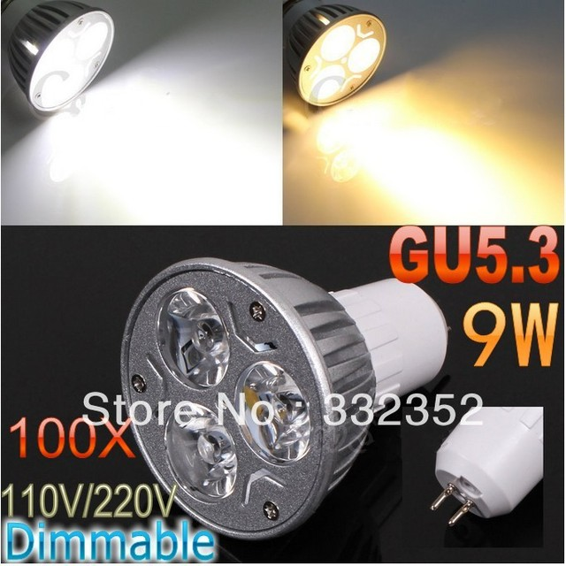 DHL FEDEX Free Shipping100pcs/lot GU5.3 High power CREE 3x3W 9W 110V-240V Dimmable Light lamp Bulb LED Downlight Bulb spotlight