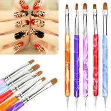 1Set 5Pcs 2-Ways Marbleizing Pen Acrylic UV GEL Nail Art Dotting Brush Pen Builder Liner Design for acrylic nail brushes(China (Mainland))
