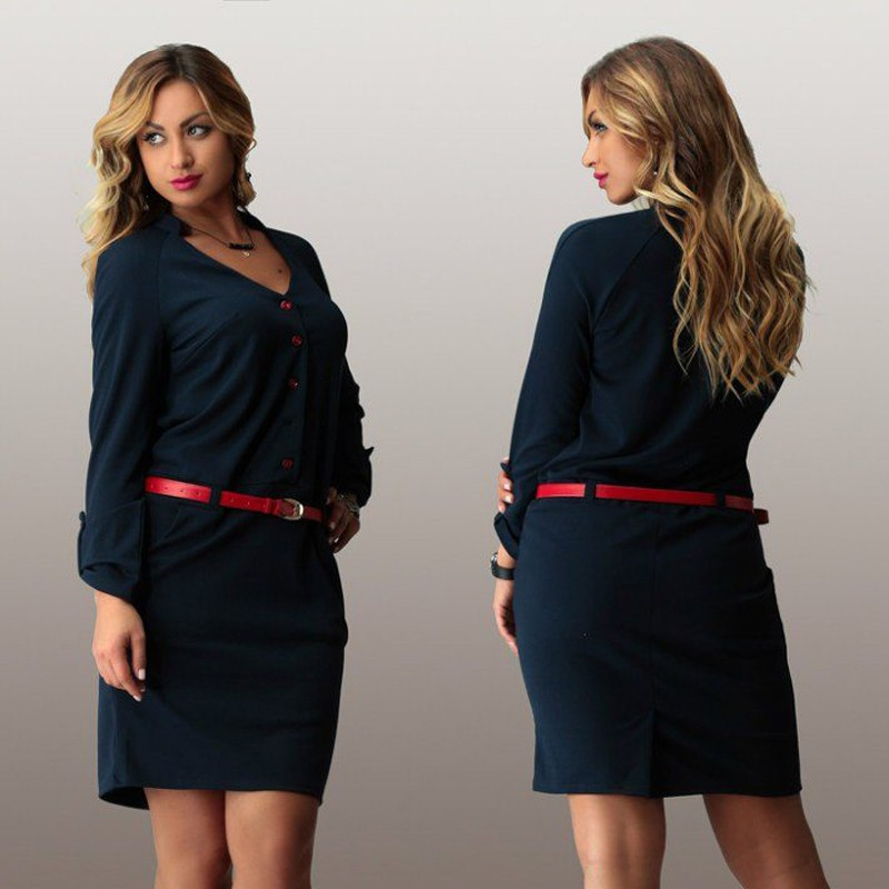 2015-kadın-artı-size-iş-dress-casual-uzun kollu pamuk-mini elbiseler artı boyutu-kadın-giyim (2)