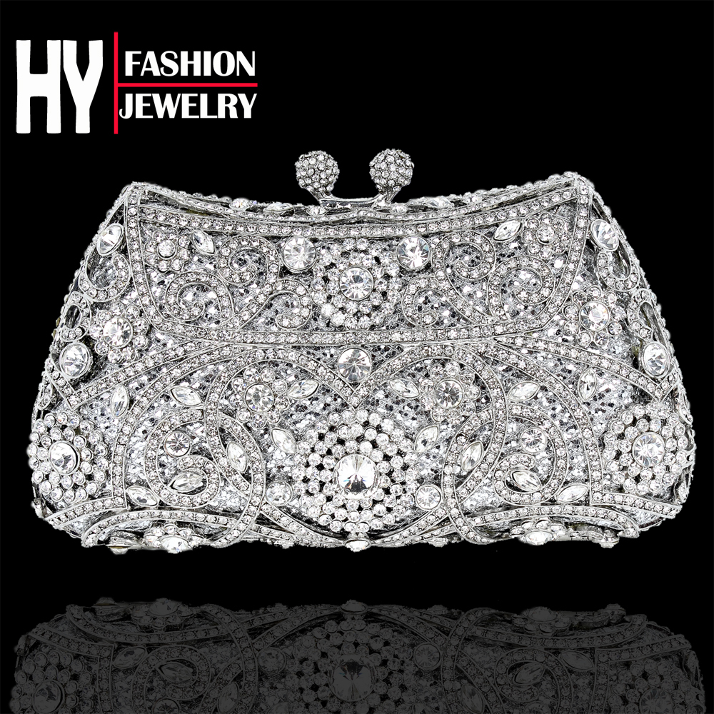 Здесь можно купить  Luxury Silver Plated Mini Full Crystal Flower Metal Clutches Bridal Wedding Party Evening Bag With Rhinestone Free Shiping  hy1K  Камера и Сумки