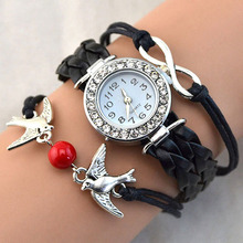 Spring's New Women Bird Love Heart Multilayer Knitted Faux Leather Bracelet Wrap Wrist Watch 9YH A4XP