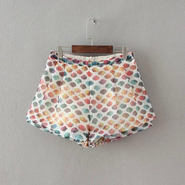 2015 summer New Fashion Ladies elegant Shell printing shorts vintage pockets casual Slim brand quality rainbow