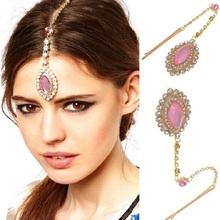 New Bohemia Headwear Full Rhinestone Pink Crystal Pendant Bindi Hair Clip Hairpin Indian Hair Accessories Summer Beach Wholesale