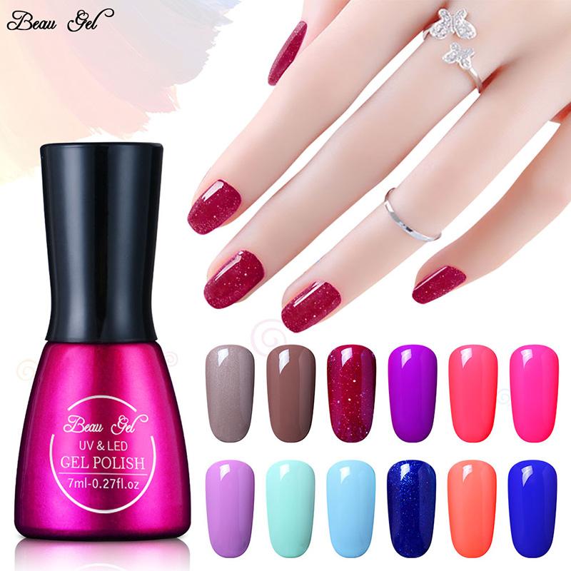 Beau Gel UV Vernis Semi Permanent 7Ml UV Nail Gel Polish Soak Off Long Lasting LED Nail Polish Lacquer Need Candy Gel Gelpolish(China (Mainland))