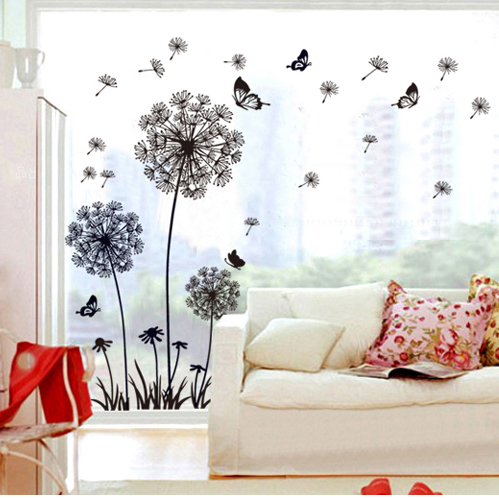 Black Dandelion Glass Wall Stickers Decals Adhesive Removal Flower Vinyl Wallpaper Mural Girls Women Home Room Window DIY Decor  -  My Butterfly store