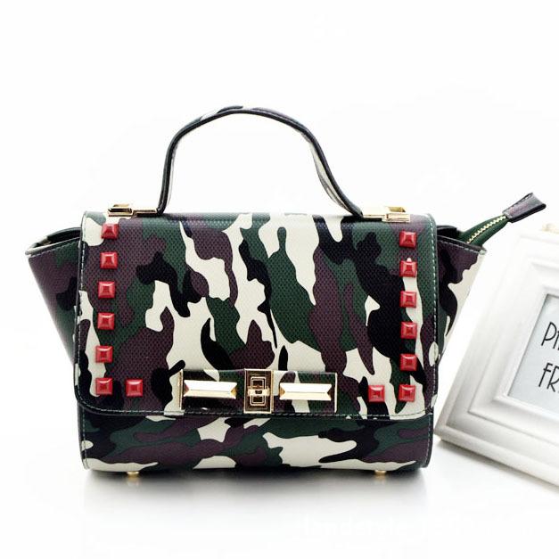 European and American Fashion Handbags Retro Rivet Messenger Bag Shoulder Bag Handbag Trend Camouflage Messenger Bag(China (Mainland))