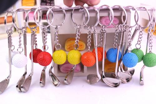 Golf gifts ball colours key chain ball new style Fashion golf ball key chain(China (Mainland))