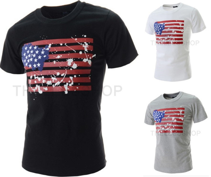 2015 fashion casual American flag printed T-shirts men round neck new camiseta masculina summer style O tee shirts XXL  -  DT boutique store